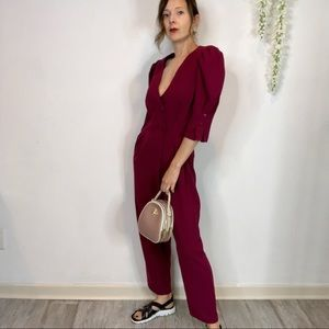 NWT ASOS fuchsia jumpsuit puff sleeves cropped